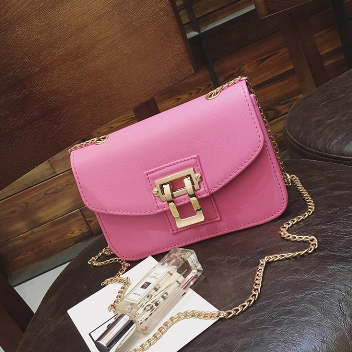 Women's Fashion Single Shoulder Bag Slant Slung Bag Female PU skin lock small square bag pink onesize
