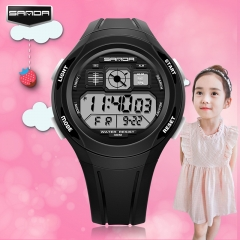 LED Waterproof Sports Personality Children's Watch Electronic Watch black onesize