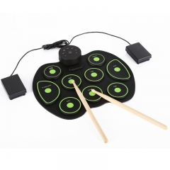 Portable Hand Roll Electronic Drum Roll Up Drum Kit Portable Silicone Hand Roll Drum green one-size