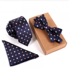 Business Casual Men's Ties Set Embroidered Necktie Three Piece Set 01# one-size