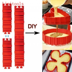 4 Pcs Silicone bakeware cake mold DIY Baking square rectangular Heart Shape Round pastry tools one-color one-size