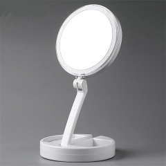 Multifunction LED Lights Decoration Mirror Foldable Round Women Facial Makeup Mirror white one-size