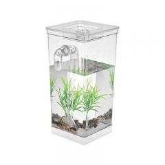 Mini Fish Tank Aquarium Self Cleaning Fish Tank Bowl Acrylic Desk Aquarium Office Home Decoration white one-size