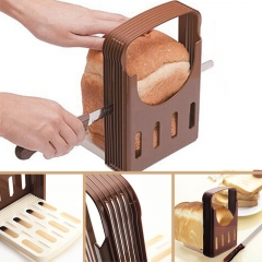 Foldable Practical Bread Cutter Loaf Toast Slicer Cutting Slicing Guide Baking Accessories brown one-size