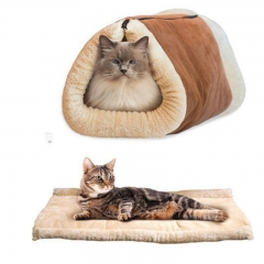 Cat Pet Bed Tunnel Fleece Tube Indoor Cushion Mat For Puppy Kitten Crate Cage Shack House