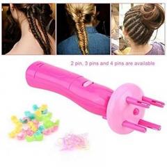 DIY Electric Fashion Hair Braiding Braider Tools Automatic Twist Braid Knitted Device pink one-size