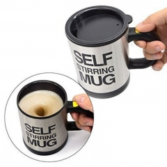 Creative Coffee Mug Stainless Steel Surface Cup Lid Lazy Automatic Self Stirring Mug Office Home black one-size