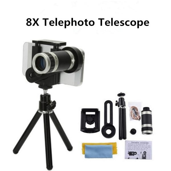 Universal 8X Optical Zoom Telescope Camera Lens Clip Mobile Phone Telescope  Black 8X 8X silver gray 8x one size
