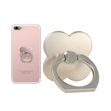 Four-leaf clover 360 Degree Finger Ring Mobile Phone Smartphone Stand Holder gold 1 one size