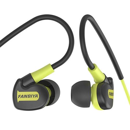 Super Bass Sweat Proof Sports Earphones black+green