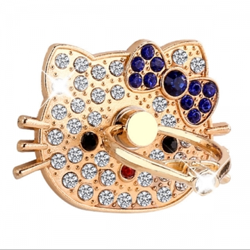 360 Degree Finger Ring Mobile Phone Smartphone Stand Holder with rhainstone decorated gold one size gold+blue 1 one size