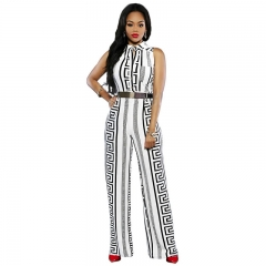 African Women's Jumpsuits Without Sleeves White S