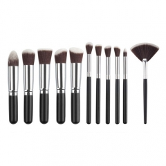 makeup powder brush set women's beauty tool wood handle 11 pieces Black Silver