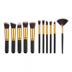 makeup powder brush set women's beauty tool wood handle 11 pieces Black Gold