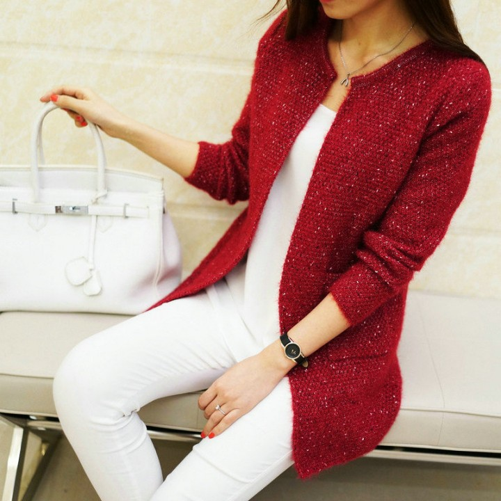 26867fc1d37 Winter Women Casual Long Sleeve Knitted Cardigans 2018 New Crochet Ladies  Sweaters Fashion Tricot