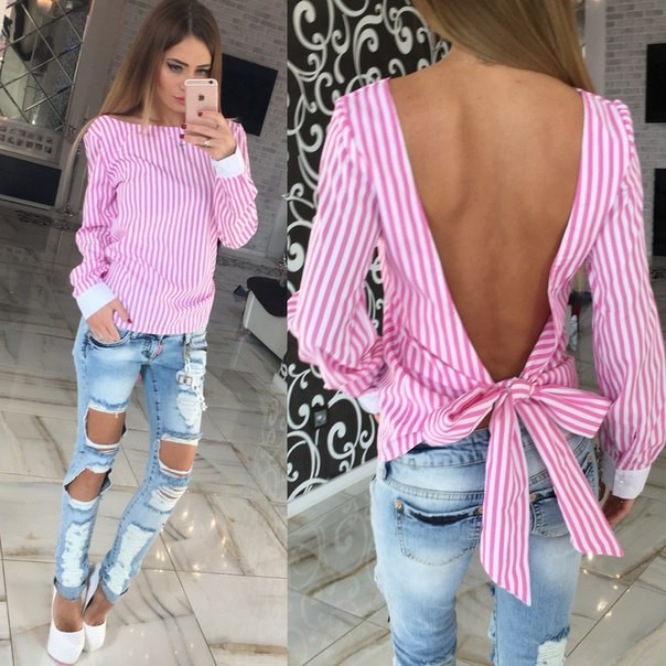 d3b7005842ed6 Fashion White Striped Open Back Sexy tops Cute Women Blouse Long Sleeve Shirt  Women Summer Clothe  Product No  416631. Item specifics  Seller SKU sTGXb  ...