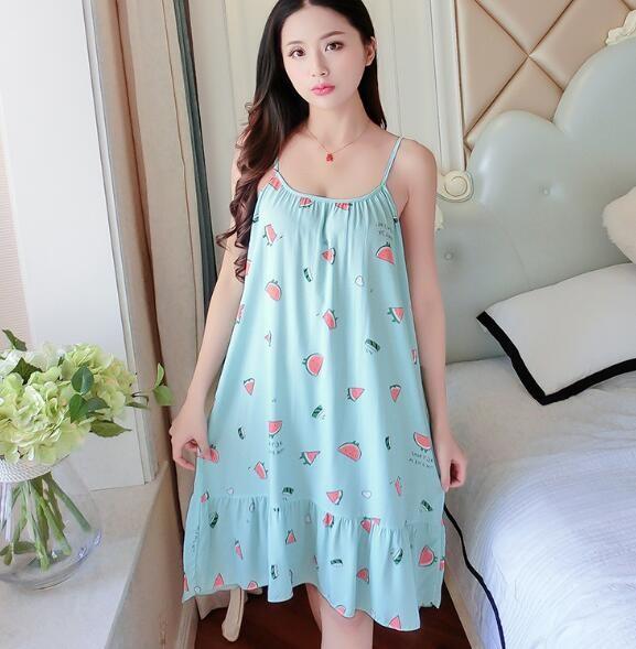 4ace4bc303ba Women Nightshirt Night Dress Spaghetti Strap Summer Sleepwear Nightgowns  Printing Night Gown Fema