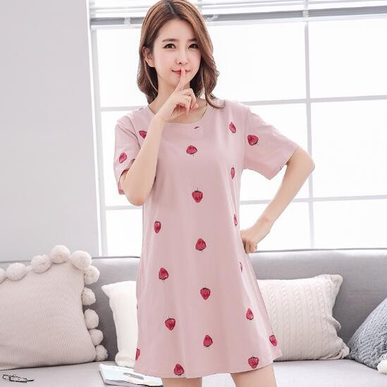 Item specifics  Seller SKU MfPJS  Brand  Fdfklak Cotton Summer Night Dress  Women Short Sleeve Cartoon Printing Nightgowns ... c2f57020bf