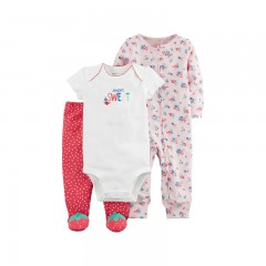 sweet bodysuits floral jumpsuit strawberry foot pants clothing sets Carter's baby Girl soft cotto