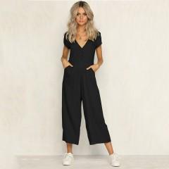 V Neck Short Sleeve Black Casual Jumpsuit Women Fashion Button Jumpsuit Romper Female Summer Loos