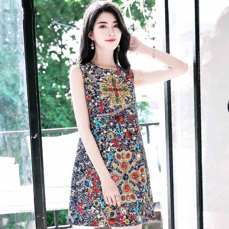 f8cd8ce87 Quality 2018 New Designer Fashion Summer Short Dress Women's Sleeveless  Pattern Print Vintage Dia: Product No: 438302. Item specifics: Seller  SKU:sorTrewUfl ...