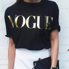 summer VOGUE t shirt women casual lady top tees cotton tshirt female brand clothing t-shirt print