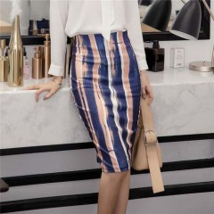 Hot Summer Fashion Women Stripe Pencil Skirts Women Sexy High Waist Knee-Length Streetwear Skirt