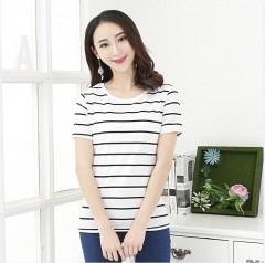 T Shirt Female T-shirt 2018 Summer Korean Style Women T Shirt O Neck Stirped Cotton T-shirts For