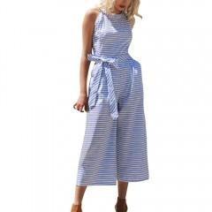 Fashion Rompers Womens Jumpsuit Summer Women Sleeveless Striped Jumpsuit Casual Clubwear Wide Leg