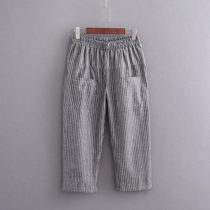 9feb26b6172e56 Summer Casual Capri Pants 4XL Plus Size Women Clothing Fashion Loose Elastic  waist Plaid Harem Pa