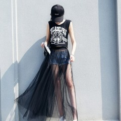 New Puff Women Mesh Tulle long Skirt Fashion Elegant Female Skirts from Wome for Spring Summer Au