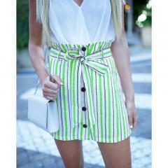 Summer Striped Skirt Women High Waist A-Line Casual Buttons Mini Skirts For Girls Boho Sexy Skirt