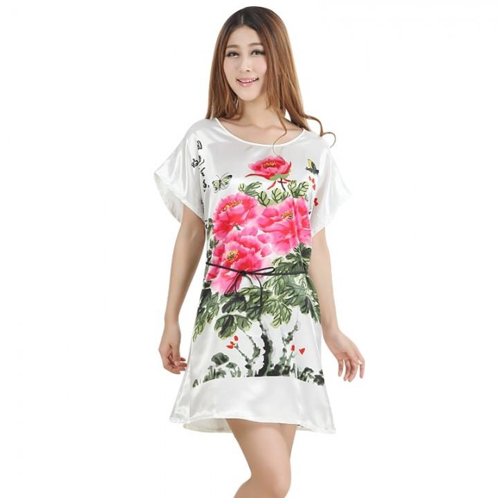 0219f75ed70 Chinese style Sleepwear Women Sexy Satin Nightdress O Neck Nightgown  Nightwear Ladies Sleep robe
