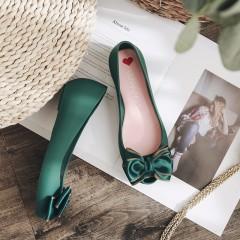 Women Jelly Shoes Female Cute Bow Plastic Flat Shoes Lady Peep Toe Beach Shoes Women Rain Footwea