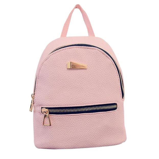 2375452f65f6 Hot Womens Leather Backpacks Solid Grey Pink Black Schoolbags Bag ...