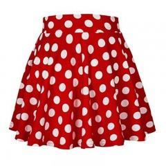 High Waist Skrt Summer Floral Print Polka Dot Ladies Summer Skirts Skater Vintage A-Line Skirt WS