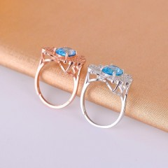 Sky Blue Topaz Birthstone Solitaire Ring Genuine 925 Sterling Silver Jewelry for Women