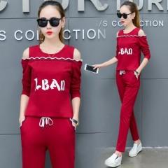 off shoulder Two Piece Set Sportswear Tracksuits Casual Letter Women Suit 2018 Autumn Women's Tra