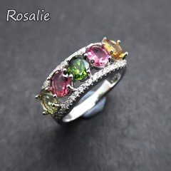 Natural Fancy color tourmaline oval 4*5mm 2.5ct gemstone Ring 925 sterling silver colorful ring f