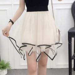 New Spring Summer Women Black Pink Mini Skirt Korean Elastic High Waist Skirts Shorts Sweet Mesh