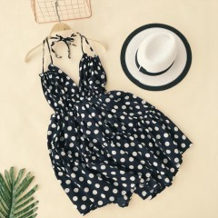 Holiday Backless Sling Dress V-collar High Waist Polka Dot Printed Women Summer Beach Vestidos