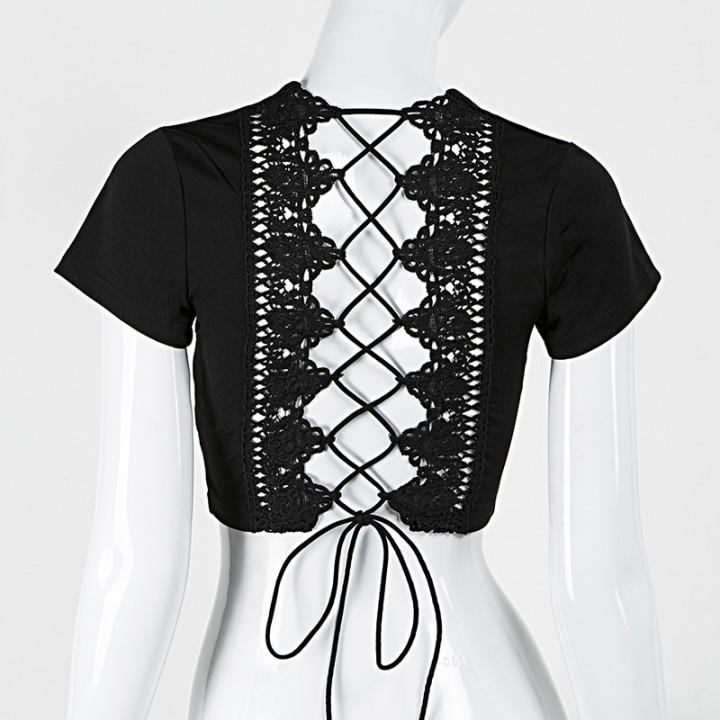 c552224629 Back Cross Crochet Lace Up Crop Top Summer New Short Sleeve Plunge V Neck  T-shirt Women Tee Cropp