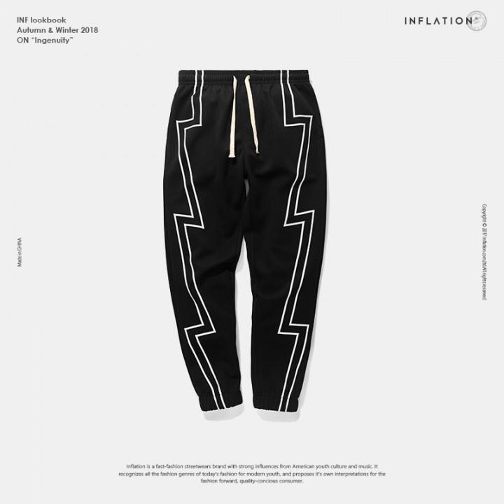 ad399ff8e Reflective stripe screen print sweatpants streetwear men's elastic waist  track pants force jogger