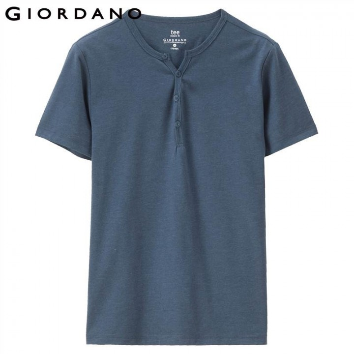 provide plenty of authentic quality hot-selling cheap Men Tee Henley Collar Short Sleeves Tshirt Solid Cotton Tops Men Casual  Outfit Clothing Brand 201