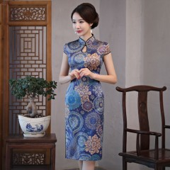Arrival Chinese Women's Knee Leng Cheongsam Fashion Short Style Qipao Rayon Slim Dress Vestidos S