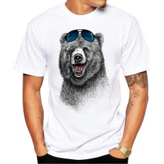 Cheapest Fashion Laughing Bear Men T-shirt Short sleeve men The Happiest Bear Retro Printed T Shi