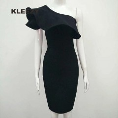 elegant One Shoulder sleeveless Sexy Ruffles Evening Party solid Bodycon Bandage pencil Dress H25