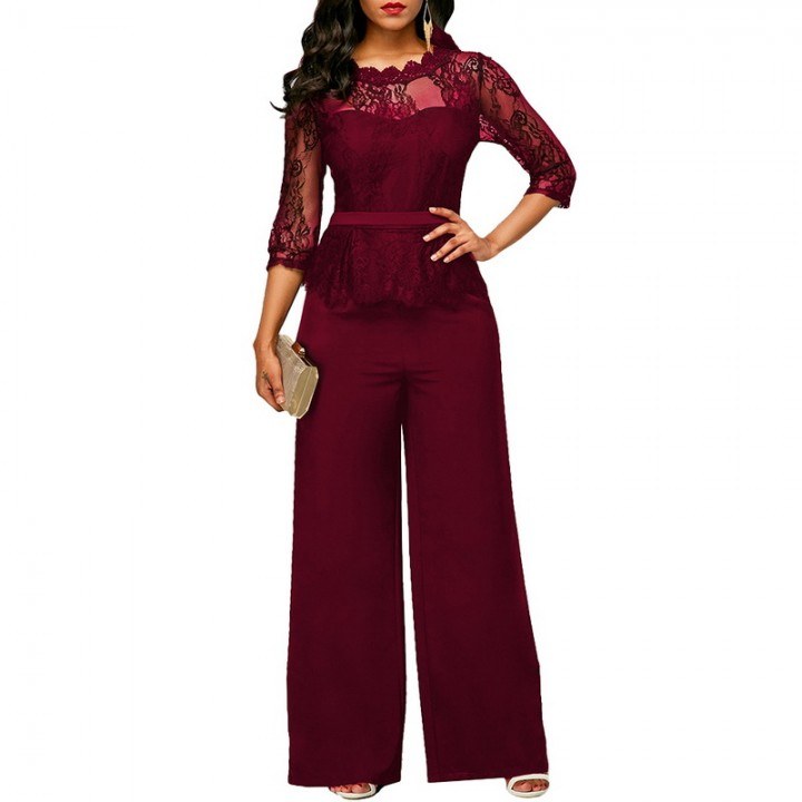 8d7ce9278d9 New Casual Elegant Lace Women Jumpsuits Wide Leg Long Sleeve Hollow Out  Slim Work Office Rompers