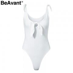 Summer beach sexy slim bodysuits Women strap bow keyhole kintted bodysuits 2018 Casual streetwear