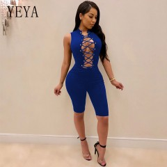 Summer Playsuit Sleeveless Lace Up Short Rompers Womens Jumpsuit Sexy Hollow Out Bodycon Bandage